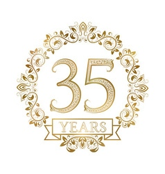 Golden emblem of thirty fifth years anniversary in vector image