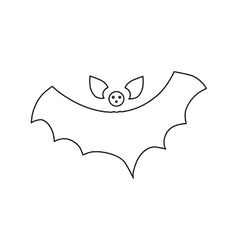Halloween flying bat icon outline style vector image