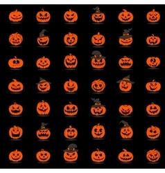 Halloween pumpkin 42 icons set vector image vector image
