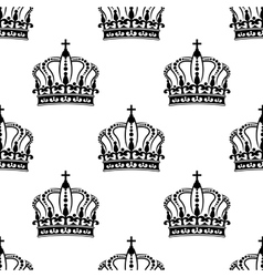 Heraldic seamless pattern with black royal crowns vector image vector image