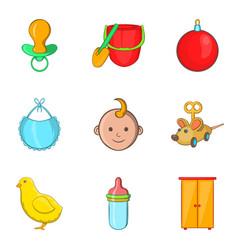 Kiddy icons set cartoon style vector