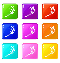 match flame set 9 vector image vector image