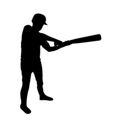 monochrome silhouette of baseball player with vector image