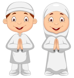 Muslim kid cartoon vector image