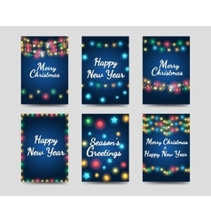 New year and christmas greetings cards vector image vector image