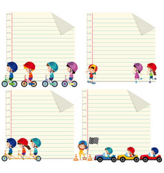 Paper design with kids riding and driving vector