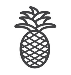 Pineapple line icon fruit and tropical vector