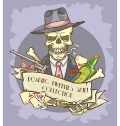Roaring twenties skull label vector