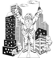 Santa Claus with city vector image
