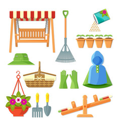 Set of garden equipment and decorative accessories vector