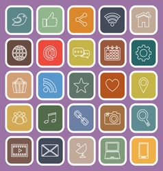 Social media line flat icons on violet background vector image vector image