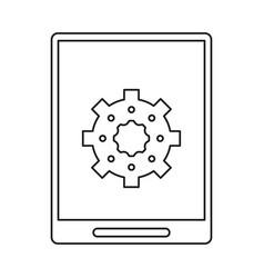 Tablet device technology digital gear line vector