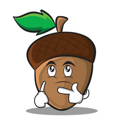 thinking acorn cartoon character style vector image vector image