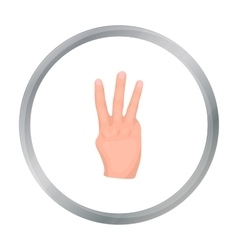 Three fingers icon in cartoon style isolated on vector image