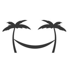 tree palm beach with hammock vector image vector image