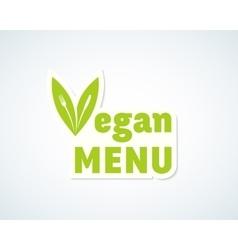 Vegan menu sticker sign or emblem fork vector