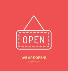 We are open sign flat line icon retail vector
