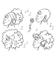 Woman african american music vector