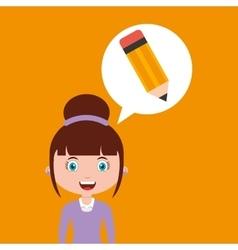 Writing education online design girl vector