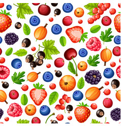 Colorful ripe forest berries seamless pattern vector