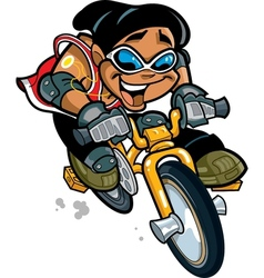 Smiling boy riding bike vector