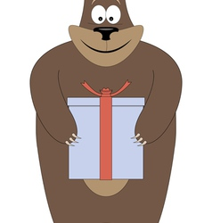 Bear holding a gift in paws vector
