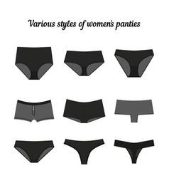 Various styles of women panties black vector
