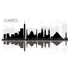 Cairo city skyline black and white silhouette vector