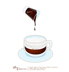 Cappuccino coffee with more milk foam in glass cup vector