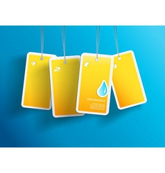 Four hanging yellow aqua cards you can place your vector