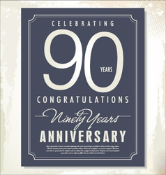 90 years anniversary background vector