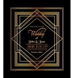 Wedding Invitation Card - Art Deco Gatsby Style vector image