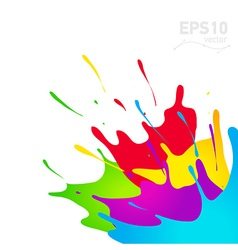Colored paint splashes in abstract shape vector