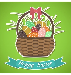 Happy easter card basket with easter eggs vector