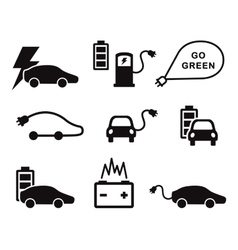 Electric car icons set vector