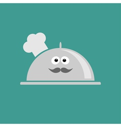 Silver platter cloche chef hat with eyes moustache vector