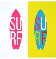 Surf typography on surfing board in modern vector