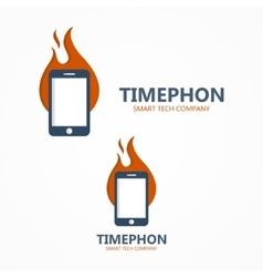 Logo combination of a fire and phone vector