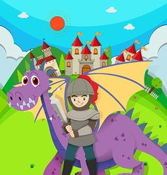 Knight and dragon in the field vector