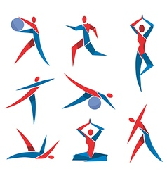 Fitness yoga icons vector