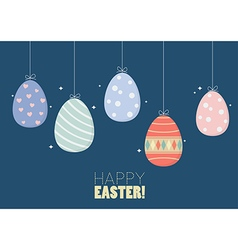 Colorful hanging easter eggs vector