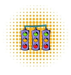 Traffic lights icon comics style vector