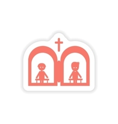 Paper sticker on white background christian vector