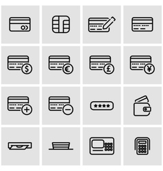 Line credit card icon set vector