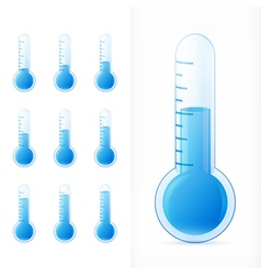 Thermometer blue set different states vector