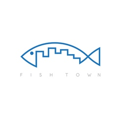 Fish town concept design template vector