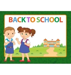 Banner back to school boy girl pupil lettering vector