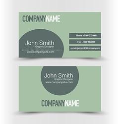 Business card set template dark green color vector
