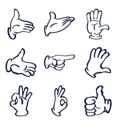 Cartoon gloved hands clip art vector