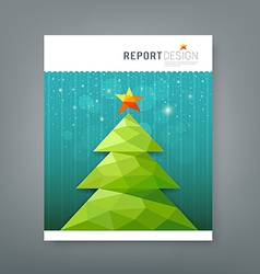 Cover report Christmas tree geometry design vector image